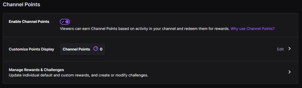 Channel Point Screen where you can enable and customize the rewards.