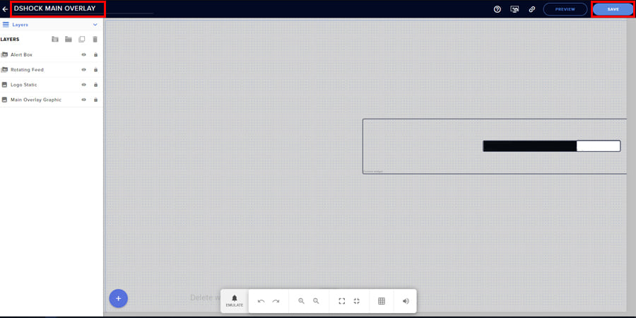 """Photo of the main editor window of StreamElements with red outlines around """"Save"""" and """"Overlay Title"""""""