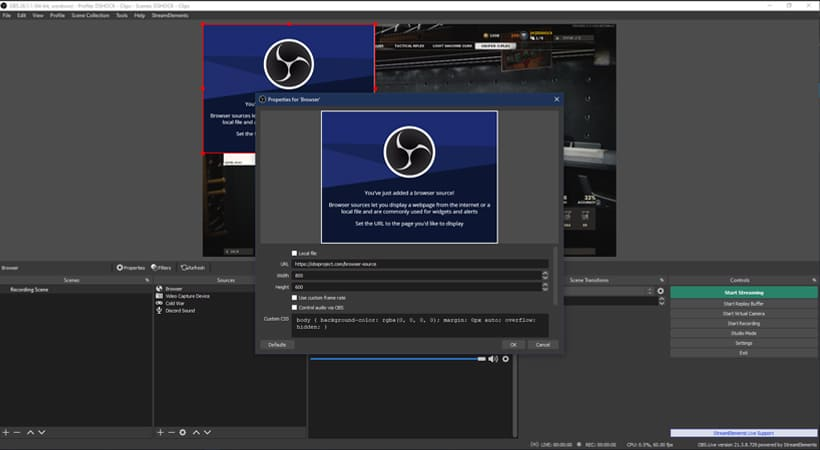 Photo of OBS with the Browser Source Window open.
