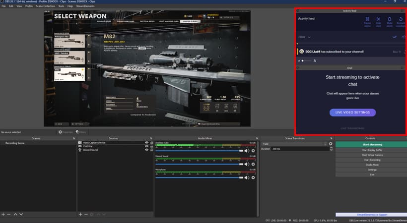 Photo of OBS with OBS.live plugin.