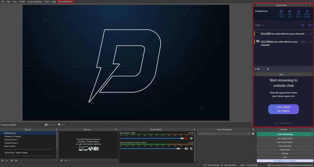 Photo of OBS screen with OBS.Live installed.