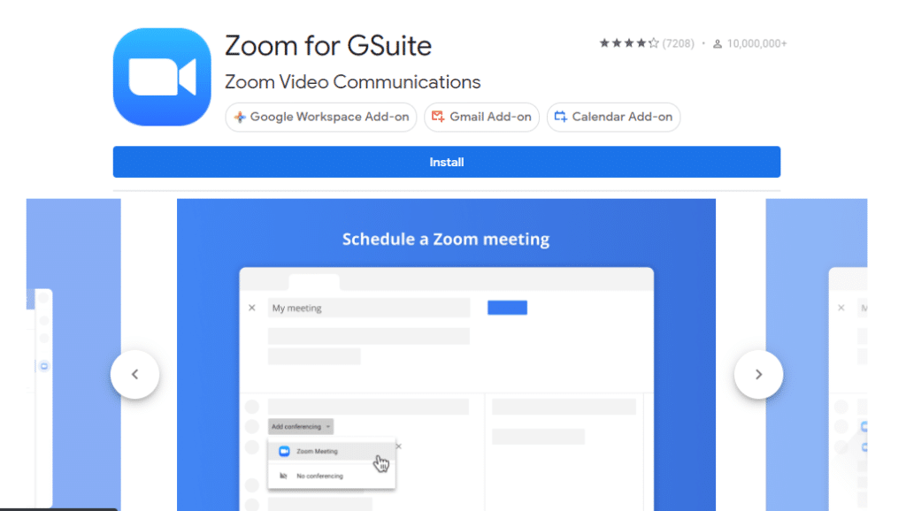 A screenshot of the Zoom for GSuite Marketplace Page
