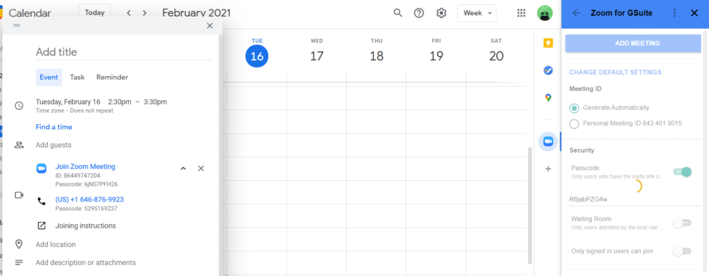 A screenshot showing how to schedule and edit Zoom meeting details on Google Calendar