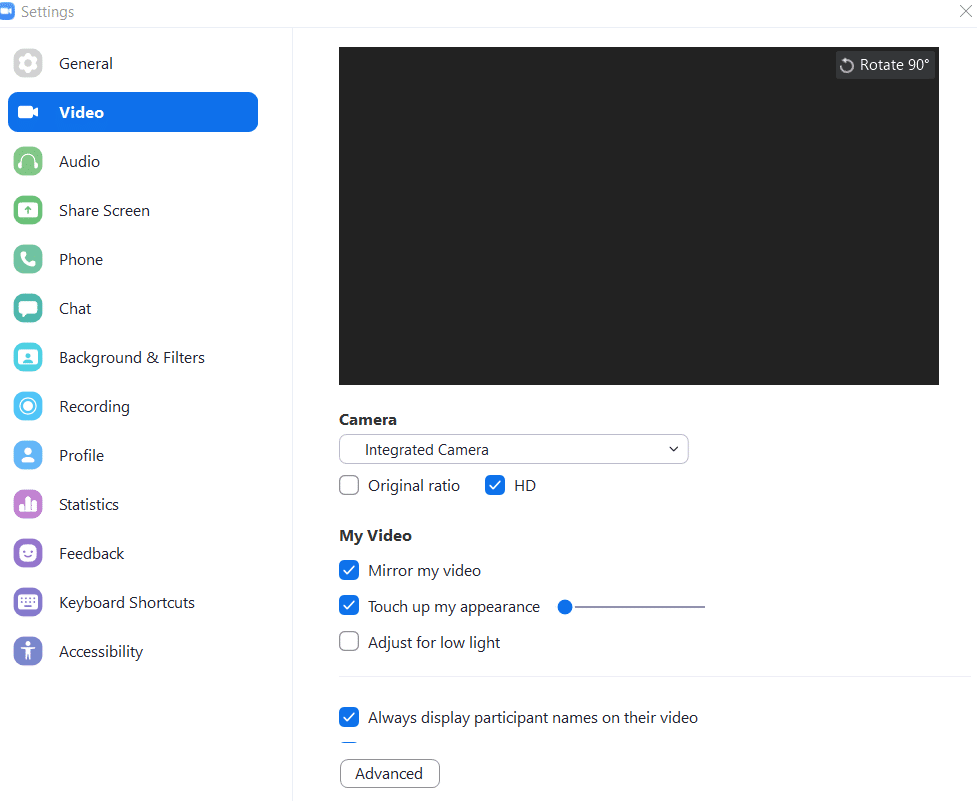 A screenshot of the Zoom Desktop Client's Video Setting Options