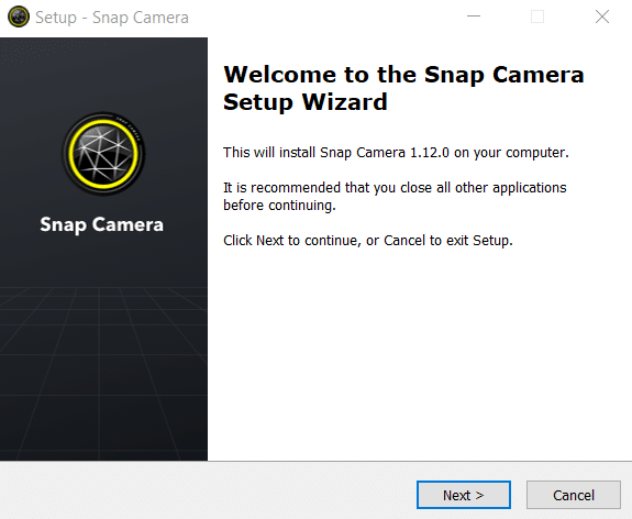 The Setup Wizard for Snap Camera