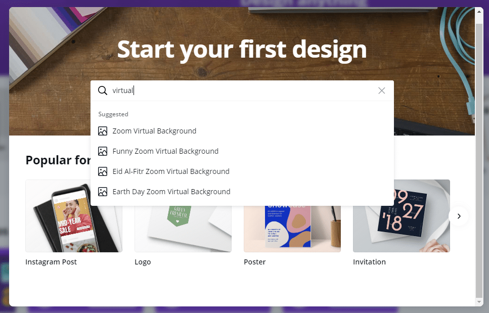 Start your first design tool in canva.