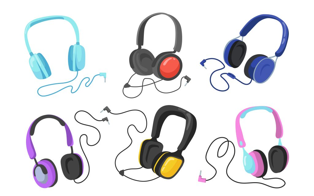 An illustration of different headphones