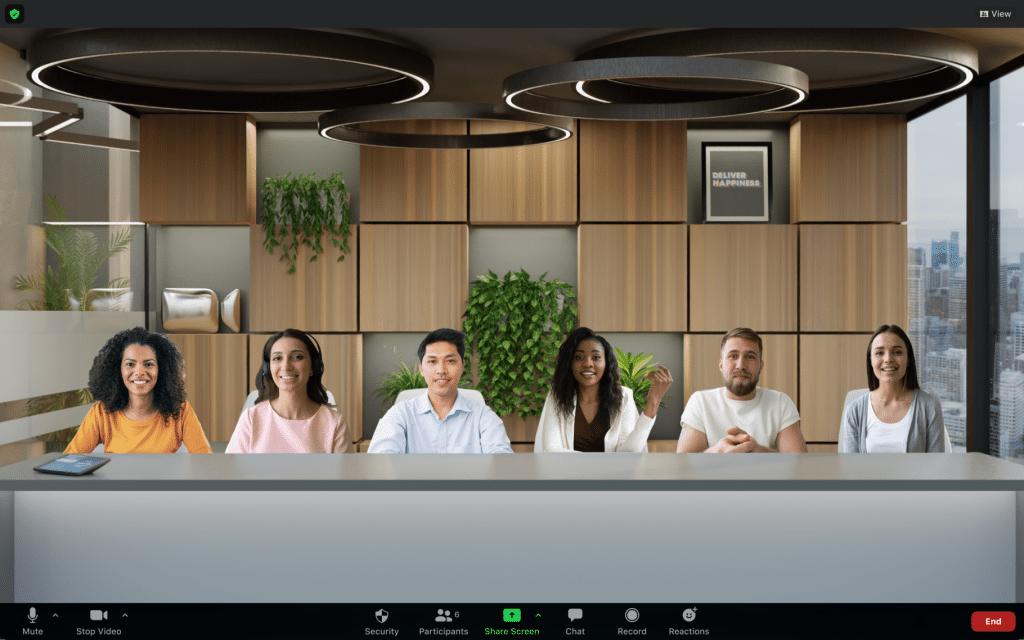 A zoom call with immersive view turned on. All participants are in a board room.