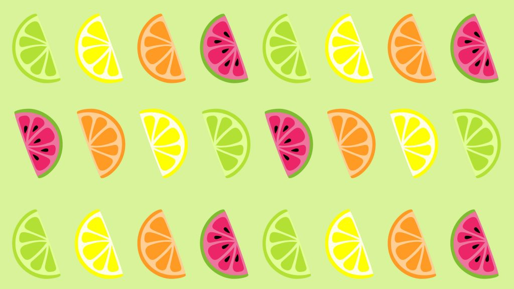 A limegreen background with limes, lemons and watermelon.
