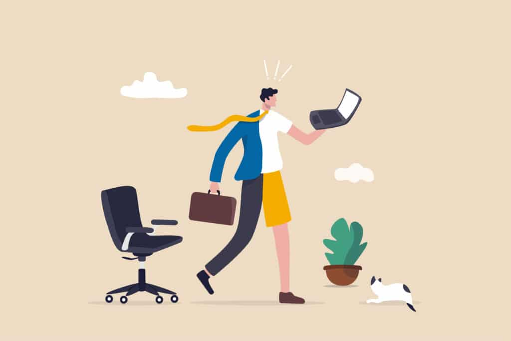 An illustration showing a worker half between the office and the home.